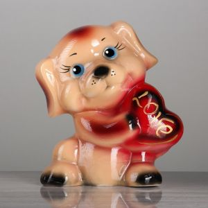 """Копилка """"Собака с сердцем"""" глянец, разноцветная, 21 см, микс"""
