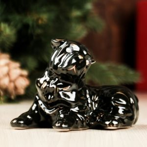 """Копилка """"Собака Шарпей"""", глянец, чёрный цвет, 8 см"""
