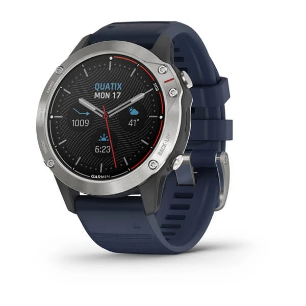Часы Garmin QUATIX 6 серый с синим ремешком