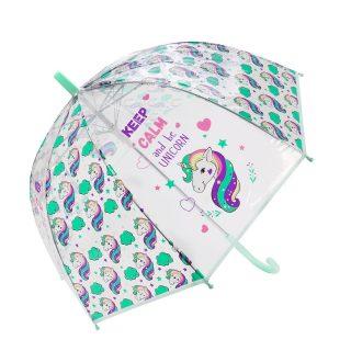 Зонт детский прозрачный Единорог, купол,  48см, полуавтомат