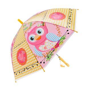 Зонт детский Сова,  48см, свисток, полуавтомат
