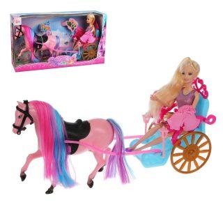 Карета открытая с лошадью и куклой, кор.