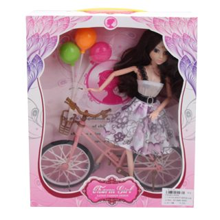 Кукла 29 см с велосипедом и шариками, шарнирная, в ассорт., кор