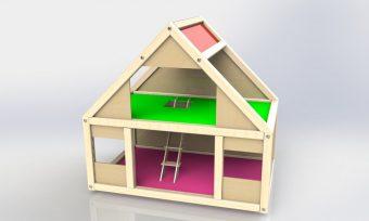 Домик деревянный для кукол до 10см Мила
