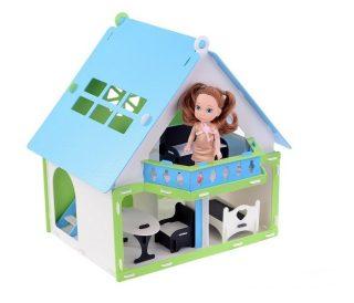 Домик для кукол Дачный дом Варенька бело- голубой  с мебелью