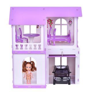 Домик для кукол Дом Алиса бело-сиреневый с мебелью