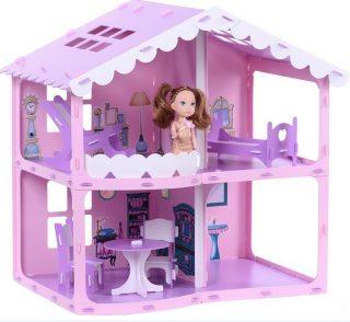 Домик для кукол Дом Анжелика розово-сиреневый с мебелью