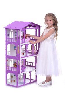 Домик для кукол Дом Елена бело-сиреневый с мебелью