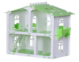 Домик для кукол Загородный дом София бело-салатовый с мебелью