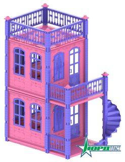 Домик для кукол Замок Принцессы 2 этажа,розовый