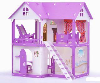 Домик для кукол Коттедж Светлана бело-сиреневый с мебелью