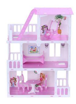 Домик для кукол Маргарита бело-розовый с мебелью
