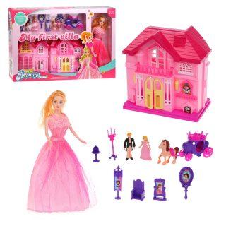 Игровой набор Кукольный домик с куклой , в компл. 12 предм., кор.