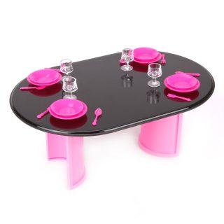 Стол с аксессуарами розовый