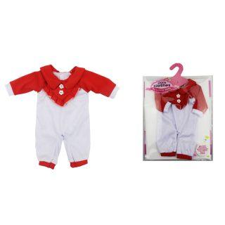 Одежда для куклы 39-45см: комбинезон красно-бел., пакет с вешалкой
