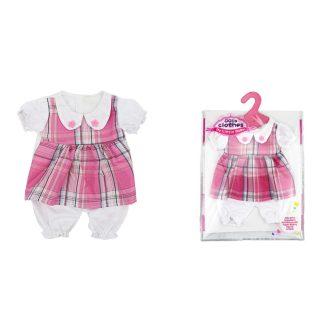 Одежда для куклы 39-45см: костюм роз. в клетку, пакет с вешалкой