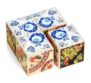 Кубики Русские узоры 4 шт