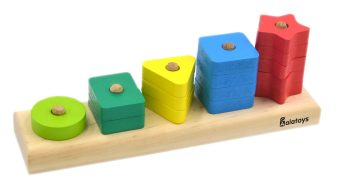 Пирамидка Счеты, 15 деталей, геометрические фигуры