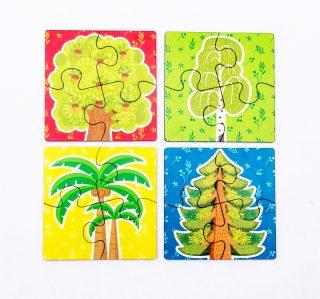 Пазл Деревья, 4 вида по 4 дет.