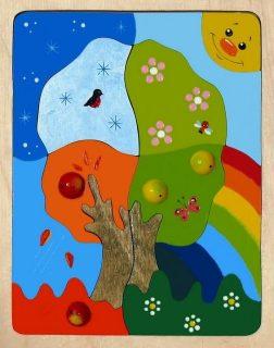 Мозаика-вкладыш дерев. Времена года 19 деталей