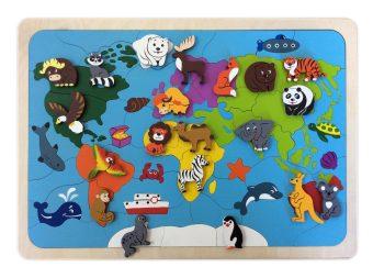 Мозаика-вкладыш Карта мира, 82 детали