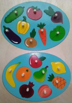 Мозаика-вкладыш Фрукты-овощи, 16 деталей
