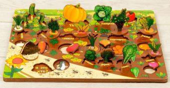 Развив. доска 3D огород Овощи на грядке