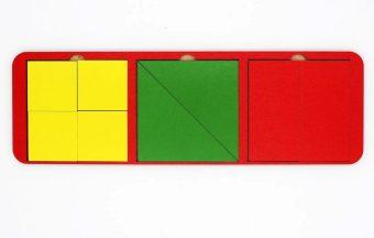 Рамка вкладыш Собери квадрат 3 фигуры, 28х10 см, Уровень 1, в асс-те
