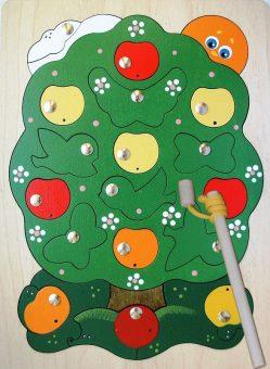 Игра-пазл дерев. магнитная Яблоня-загадка, 23дет., 2 удочки