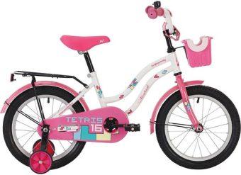 "Велосипед NOVATRACK 12"" TETRIS, белый, тормоз нож., крылья цвет., багажник чёр., передняя корзина"