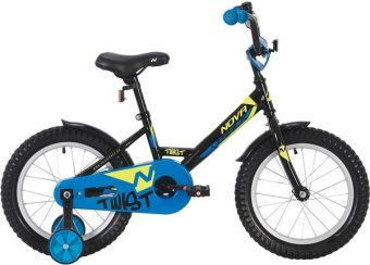 """Велосипед NOVATRACK 12"""" TWIST, чёрный, тормоз нож., корот.крылья"""