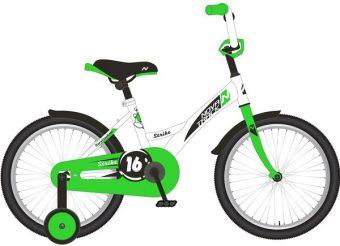 """Велосипед NOVATRACK 14"""" STRIKE, белый-зелёный, тормоз нож., корот. крылья"""