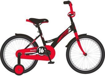 """Велосипед NOVATRACK 14"""" STRIKE, чёрный-красный, тормоз нож. ,корот. крылья"""