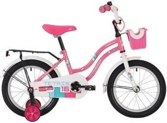 """Велосипед NOVATRACK 14"""" TETRIS, розовый, тормоз ножн., крылья цвет., багажник чёрн., передняя корзина"""
