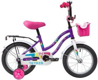 """Велосипед NOVATRACK 14"""" TETRIS, фиолетовый, тормоз нож. ,крылья цвет. ,багажник чёрн., передняя корзина"""