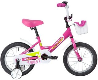 "Велосипед NOVATRACK 14"" TWIST, розовый, тормоз нож., корот.крылья, передняя корзина"