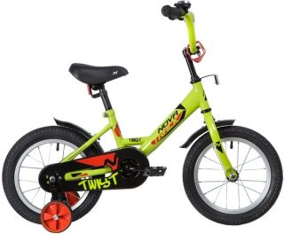 "Велосипед NOVATRACK 14"" TWIST, салатовый, тормоз нож., корот.крылья"