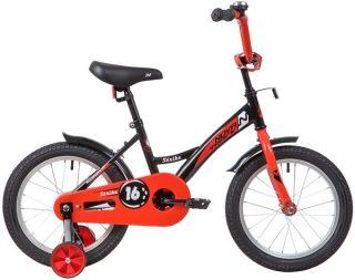 """Велосипед NOVATRACK 16"""" STRIKE, чёрный-красный, тормоз нож. ,корот.крылья"""