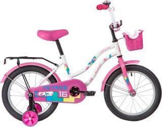 "Велосипед NOVATRACK 16"" TETRIS, белый, тормоз нож., крылья цвет., багажник чёрн., передняя корзина"