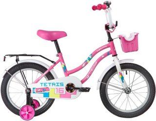 """Велосипед NOVATRACK 16"""" TETRIS, розовый, тормоз нож.,крылья цвет. ,багажник чёрн., передняя корзина"""