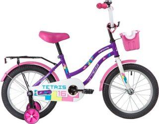 """Велосипед NOVATRACK 16"""" TETRIS, фиолетовый, тормоз нож., крылья цвет. ,багажник чёрн., передняя корзина"""