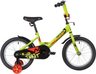 "Велосипед NOVATRACK 16"" TWIST, салатовый, тормоз нож., корот.крылья"
