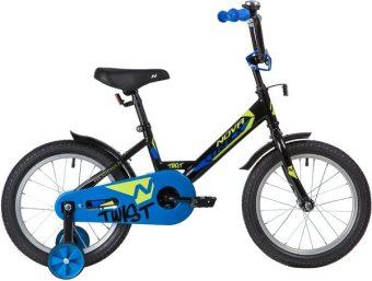 """Велосипед NOVATRACK 16"""" TWIST, чёрный, тормоз нож., корот.крылья"""