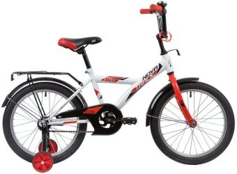 "Велосипед NOVATRACK 18"" ASTRA белый, защита А-тип, тормоз нож., крылья и багажник чёрн."