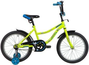 """Велосипед NOVATRACK 18"""" NEPTUNE салатовый, защита А-тип, тормоз нож, короткие крылья"""
