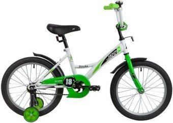 "Велосипед NOVATRACK 18"" STRIKE, белый-зелёный, тормоз нож., короткие крылья"