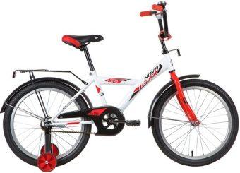 "Велосипед NOVATRACK 20"" ASTRA белый, защита А-тип, тормоз нож., крылья и багажник чёрн."