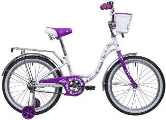 """Велосипед NOVATRACK 20"""" BUTTERFLY, белый-розовый, тормоз ножной, крылья цветн."""