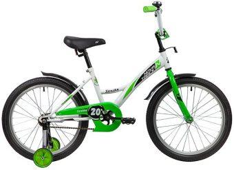 "Велосипед NOVATRACK 20"" STRIKE, белый-зелёный, тормоз нож., короткие крылья"