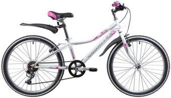 "Велосипед NOVATRACK 24"" ALICE, сталь.рама 12"", белый, 6-скор, TY21/TS38/SG-6SI, V-brake"